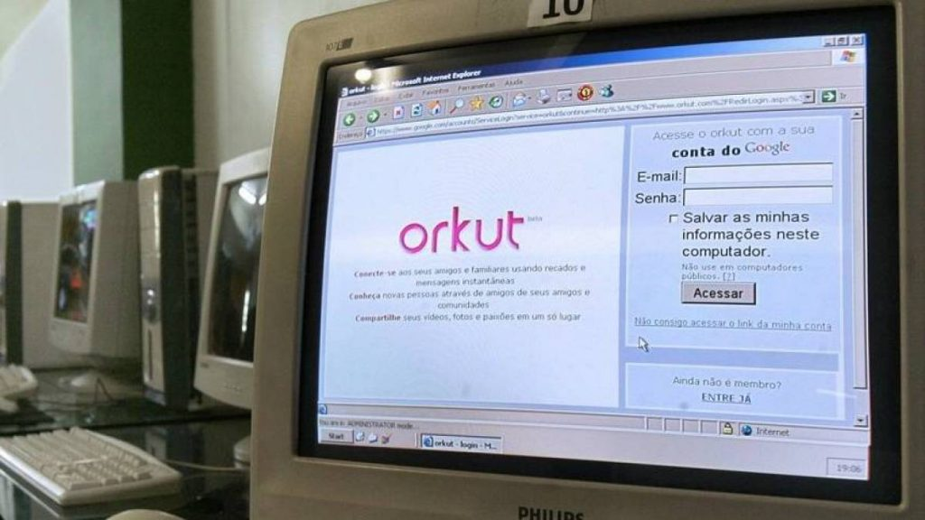 Tela inicial do Orkut antigo