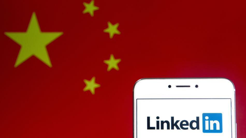 Linkedin e bandeira da China