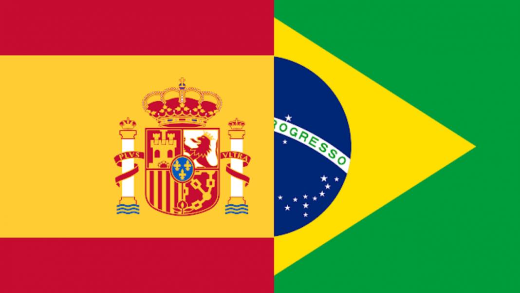 Bandeiras: Espanha e Brasil